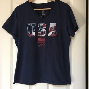 adidas Official USA Olympic Team V-neck Shirt - L
